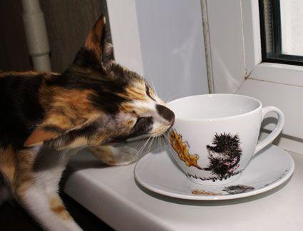 """Сервизы, чайные пары ручной работы. Ярмарка Мастеров - ручная работа. Купить Чайная пара """"Ежик в тумане. Теперь с листом"""".. Handmade."""