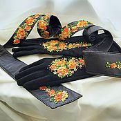 Аксессуары handmade. Livemaster - original item Suede gloves with flowers. Handmade.