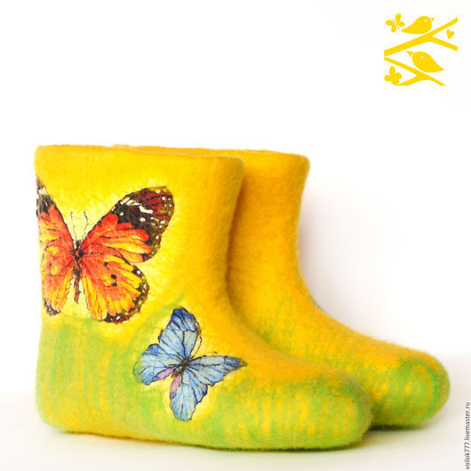 """Обувь ручной работы. Ярмарка Мастеров - ручная работа. Купить Домашние валенки """"Бабочки"""". Handmade. Желтый, оригинальный подарок"""
