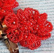 Украшения ручной работы. Ярмарка Мастеров - ручная работа Заколки - красные цветы. Handmade.
