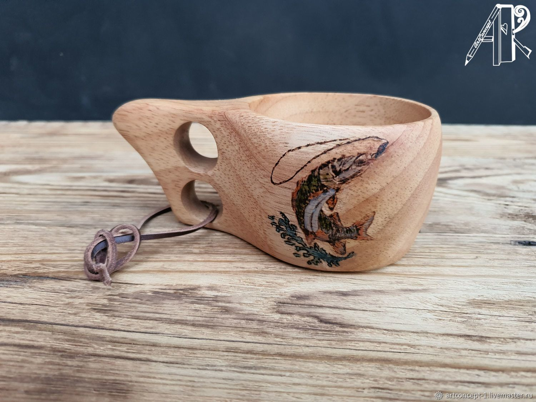 Kuksa mug made of beech with pyrography A gift to a fisherman Finnish kuksa Mug, Mugs and cups, Ryazan,  Фото №1