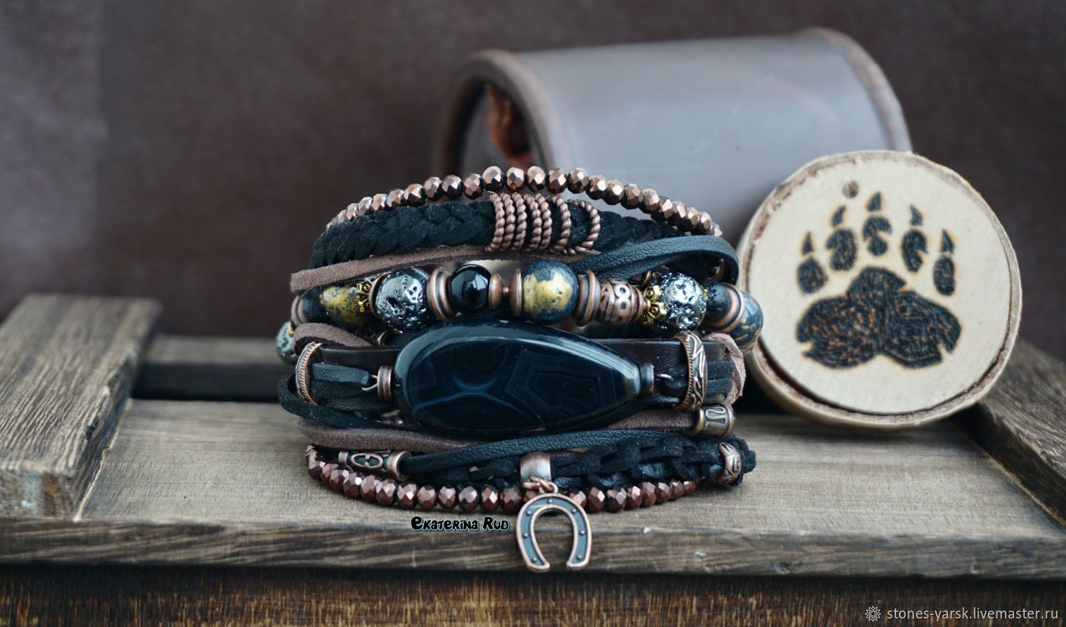 Bracelet in the style of BOHO-chic with leather and suede 'Brown', Bead bracelet, Moscow,  Фото №1