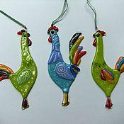 Для дома и интерьера ручной работы. Ярмарка Мастеров - ручная работа Петушки на елочку и для души-фьюзинг. Handmade.