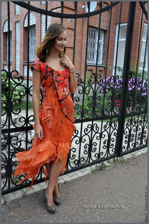 """Платья ручной работы. Ярмарка Мастеров - ручная работа. Купить Платье """"Огонек"""". Handmade. Рыжий, жатый шелк, шерсть меринос"""
