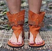 Обувь ручной работы handmade. Livemaster - original item discount! High sandals orange suede. Handmade.