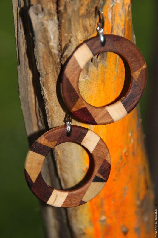 Серьги ручной работы. Ярмарка Мастеров - ручная работа. Купить Серьги из дерева. Handmade. Комбинированный, круглые серьги