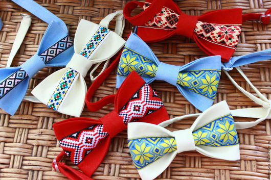Галстуки, бабочки ручной работы. Ярмарка Мастеров - ручная работа. Купить Галстук-бабочка Украина с украинским орнаментом. Handmade. Разноцветный