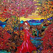 Картины и панно handmade. Livemaster - original item Painting with light/ painting stained glass painting Warm autumn. Handmade.
