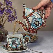 "Посуда handmade. Livemaster - original item Чайный сервиз фарфоровый ""Совиный"". Handmade."