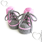 Работы для детей, handmade. Livemaster - original item booties shoes, keiki pink, gray. Handmade.