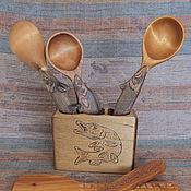Для дома и интерьера ручной работы. Ярмарка Мастеров - ручная работа Кухонный набор из ложек для ухи и подставки под них. Handmade.