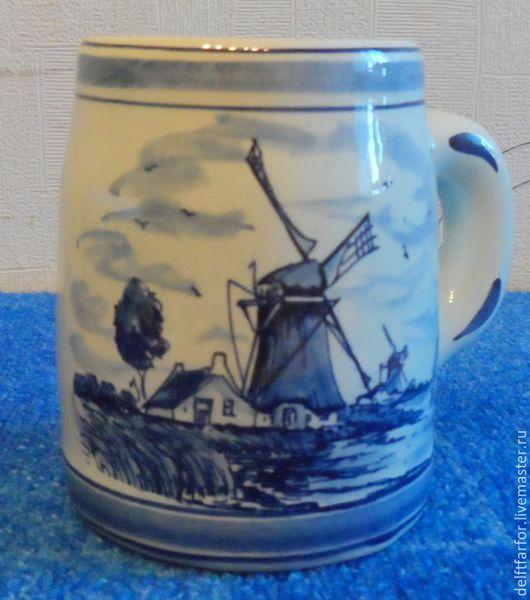 Винтажная посуда. Ярмарка Мастеров - ручная работа. Купить Пивная кружка Delft. Handmade. Голубой, кружка пивная