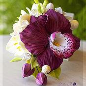 Украшения ручной работы. Ярмарка Мастеров - ручная работа Брошь с орхидеей цвета Марсала. Handmade.