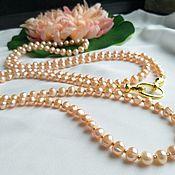 Украшения handmade. Livemaster - original item 150 cm long transformer beads made of peach pearls. Handmade.