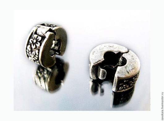 Застежки- клипсы 11 mm резные Цветы античное серебро