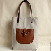 Сумки и аксессуары handmade. Livemaster - original item Ecru color bag made of soft thick cotton canvas. Handmade.