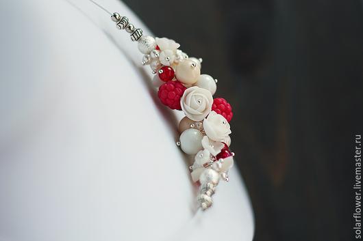 """Колье, бусы ручной работы. Ярмарка Мастеров - ручная работа. Купить Ожерелье """"Малина, розы, жемчуг"""". Handmade. Бледно-розовый"""