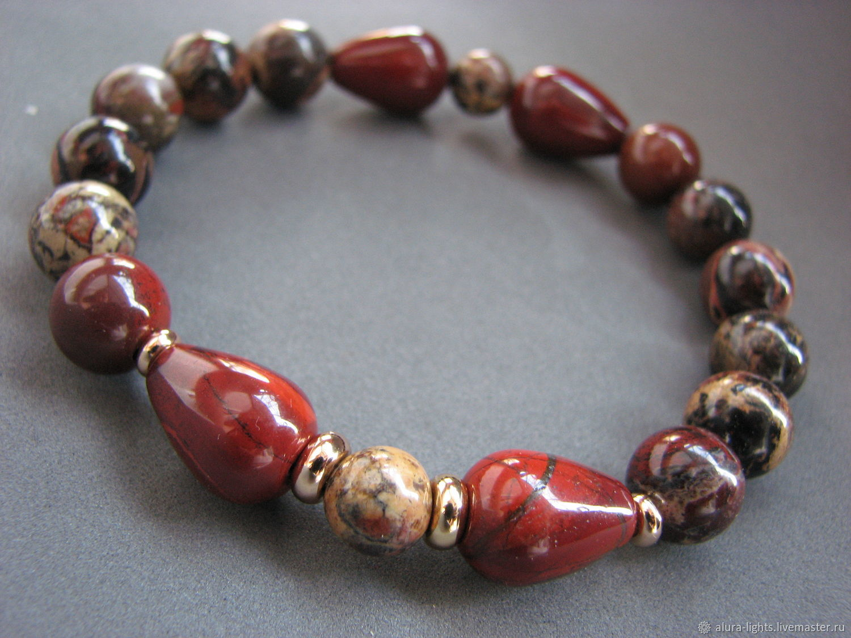 Bracelet red Jasper and leopard Jasper 'Bright mood', Bead bracelet, Moscow,  Фото №1