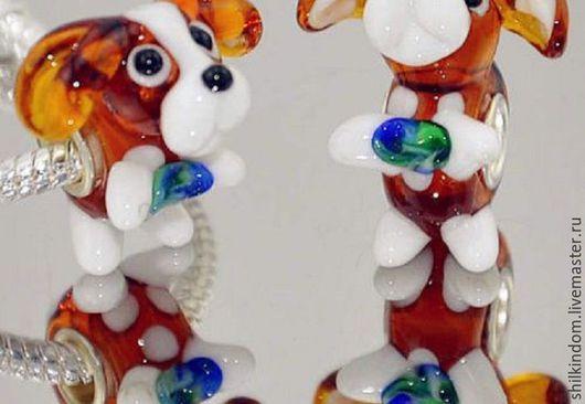 """Для украшений ручной работы. Ярмарка Мастеров - ручная работа. Купить Шарм """"Собачка"""" для браслета. Handmade. Комбинированный, собачка лэмпворк"""