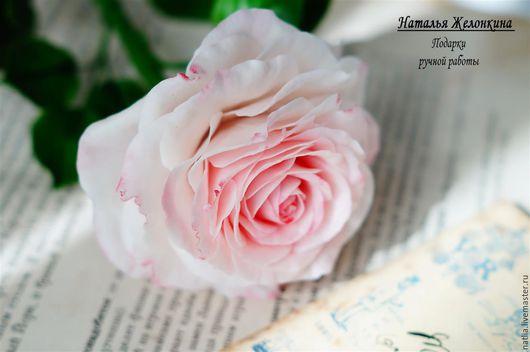 """Цветы ручной работы. Ярмарка Мастеров - ручная работа. Купить Роза """"Утренняя свежесть"""". Handmade. Бледно-розовый, Холодный фарфор"""