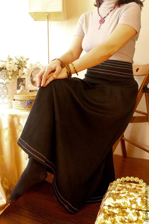 Юбки ручной работы. Ярмарка Мастеров - ручная работа. Купить Юбка из шерсти Каприз. Handmade. Черный, юбка для девушки, джерси