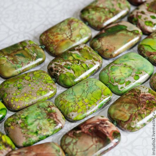 Для украшений ручной работы. Ярмарка Мастеров - ручная работа. Купить Варисцит зеленый 20х15 мм прямоугольник - бусины камни для украшений. Handmade.