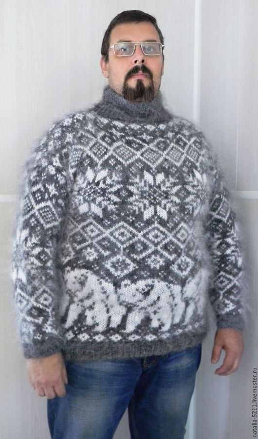 Кофты и свитера ручной работы. Ярмарка Мастеров - ручная работа. Купить Свитер с белыми медведями. Handmade. Свитер из козьего пуха