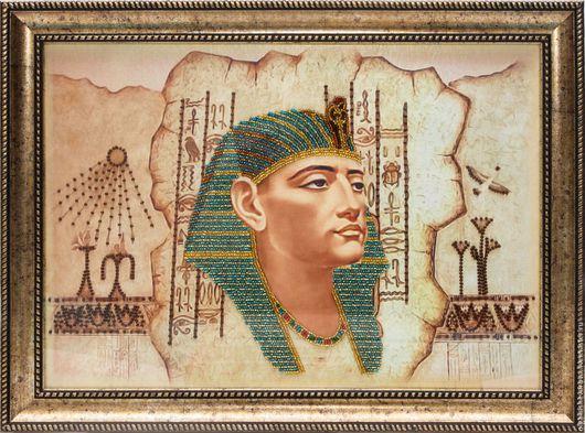 Люди, ручной работы. Ярмарка Мастеров - ручная работа. Купить Фараон. Handmade. Комбинированный, бисер, вышивка, Вышивка бисером, картина