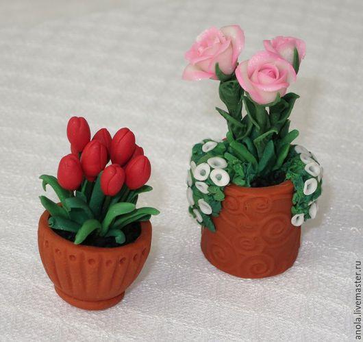 Миниатюра ручной работы. Ярмарка Мастеров - ручная работа. Купить Горшочки с цветами (миниатюра из полимерной глины). Handmade. Комбинированный, пластика