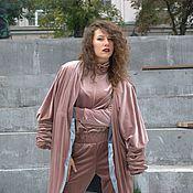 Одежда ручной работы. Ярмарка Мастеров - ручная работа Бежевое бархатное пальто. Handmade.