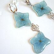 Украшения handmade. Livemaster - original item Long Earrings with Real Hydrangea Flowers Silver Rhodium Cubic Zirconia. Handmade.