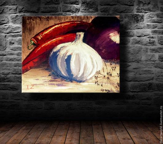 """Картины цветов ручной работы. Ярмарка Мастеров - ручная работа. Купить Авторская картина масло холст """" Острый натюрмор""""  картина маслом. Handmade."""