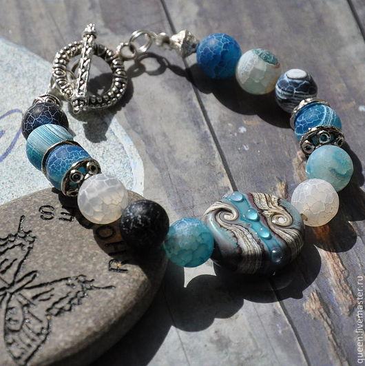 морские камушки, морские камешки,\r\nлэмпворк, море, морской, морской браслет, прибой, брызги, морская пена, подарок для девушки, подарок для женщины, бохо, браслет бохо, бохо браслет,
