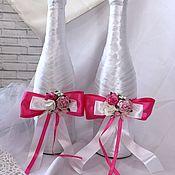 """Свадебный салон ручной работы. Ярмарка Мастеров - ручная работа Оформление бутылки для молодых  """"Фуксия"""" и свадебные бокалы. Handmade."""