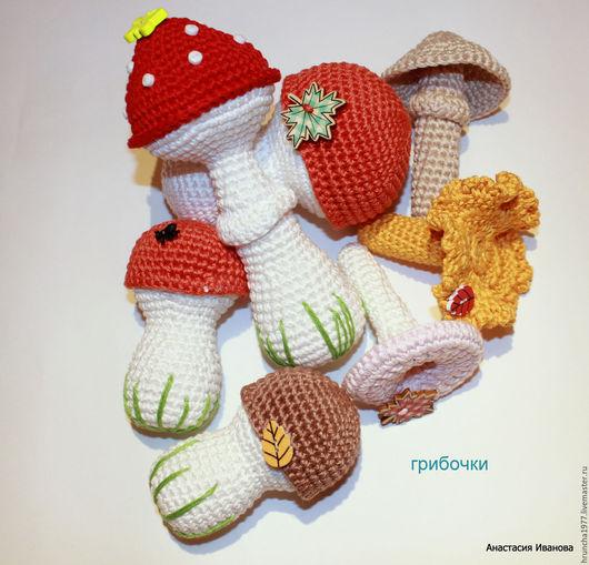 Еда ручной работы. Ярмарка Мастеров - ручная работа. Купить Вязаные грибы. Handmade. Комбинированный, подарок грибнику
