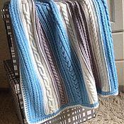 """Для дома и интерьера ручной работы. Ярмарка Мастеров - ручная работа Детский плед """"Цветные косички"""" с темно-голубыми косами.. Handmade."""