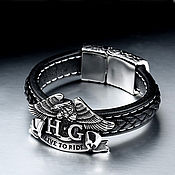 Украшения handmade. Livemaster - original item Bracelet Live to Ride made of natural leather and steel. Handmade.