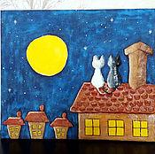 """Для дома и интерьера ручной работы. Ярмарка Мастеров - ручная работа Панно """"Коты на крыше"""". Handmade."""