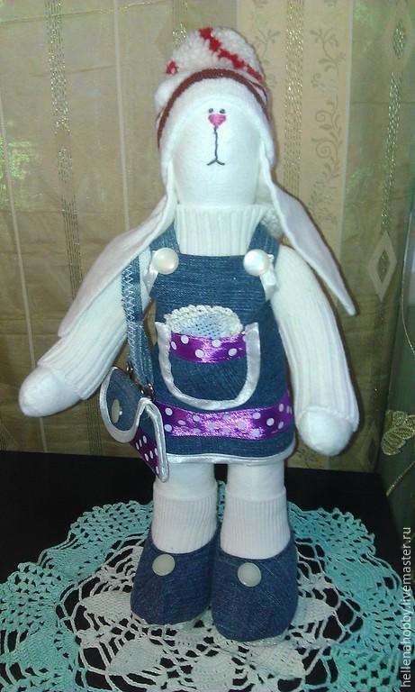 Куклы Тильды ручной работы. Ярмарка Мастеров - ручная работа. Купить Тильда Зайка в джинсовом сарафане. Handmade. Синий, зайка