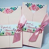 Свадебный салон ручной работы. Ярмарка Мастеров - ручная работа Приглашения Акварельные цветы - в розовой обложке. Handmade.