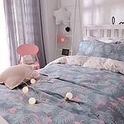 Материалы для творчества ручной работы. Ярмарка Мастеров - ручная работа Розовый фламинго на серо-синем фоне. Handmade.