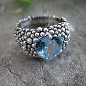 """Украшения ручной работы. Ярмарка Мастеров - ручная работа кольцо """"Млечный путь"""" (Sky blue topaz ,серебро). Handmade."""