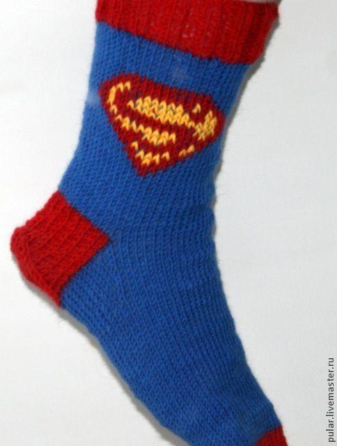Носки, Чулки ручной работы. Ярмарка Мастеров - ручная работа. Купить носки Супермен. Handmade. Носки, носки теплые, комиксы