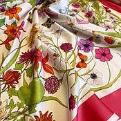 Материалы для творчества handmade. Livemaster - original item Fabric: Silk Gucci panels on a white background. Handmade.