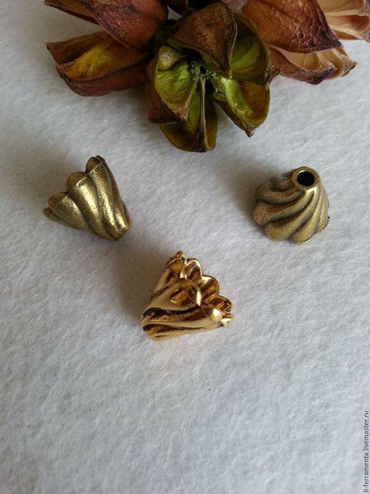 Для украшений ручной работы. Ярмарка Мастеров - ручная работа. Купить Шапочка для бусин античное золото, бронза. Handmade. Золотой