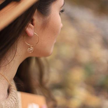 Украшения ручной работы. Ярмарка Мастеров - ручная работа Серьги - кольца со съемными подвесками из горного хрусталя. Handmade.