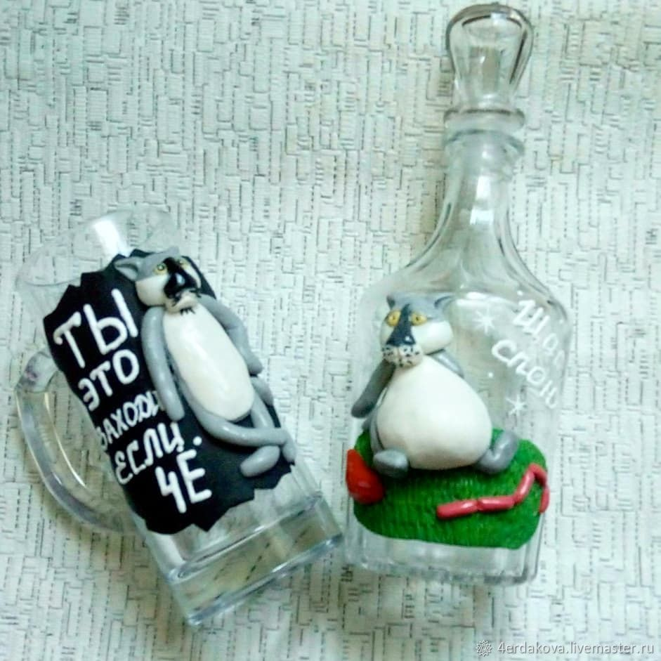 Графин и бокал с декором из полимерной глины, Бутылки, Ногинск,  Фото №1