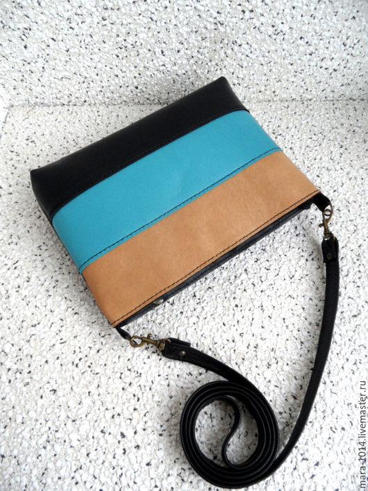 Женские сумки ручной работы. Ярмарка Мастеров - ручная работа. Купить ПАЛИТРА, кожаная сумочка на длинном ремешке, бежевый, бирюзовый, черны. Handmade.