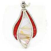 Украшения handmade. Livemaster - original item Pendant with coral and mother of pearl