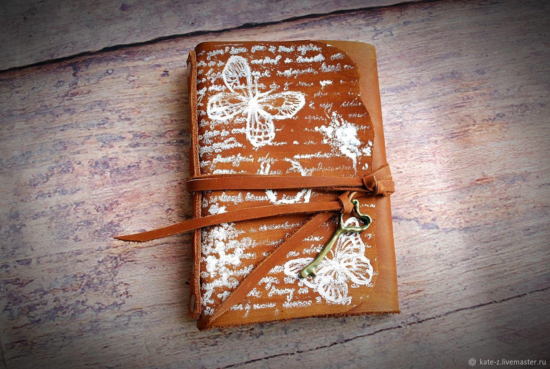 Блокнот из натуральной кожи Бабочки ежедневник софтбук скетчбук, Блокноты, Москва,  Фото №1
